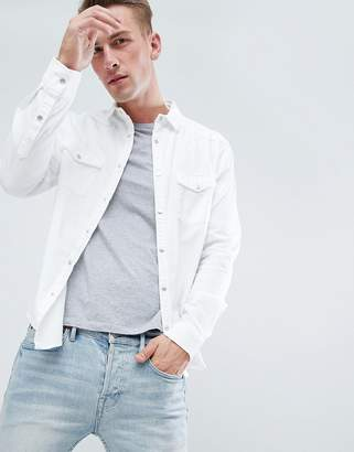New Look western overshirt with pocket detail in white