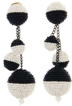 Oscar de la Renta Black and White Beaded Ball Earrings