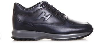 Hogan Interactive Biro Blue Leather Sneakers