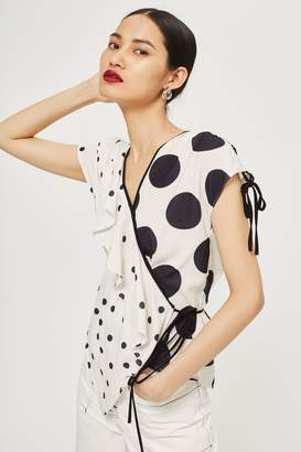 Topshop Mixed Spotted Wrap Top