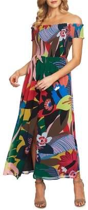 CeCe Jungle Splendor Off the Shoulder Dress