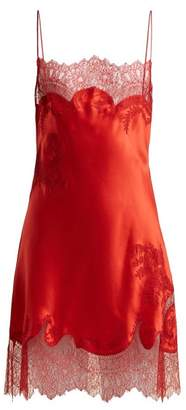 Carine Gilson Lace Trimmed Silk Satin Slip Dress - Womens - Red