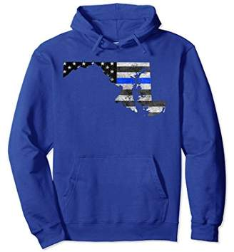 Police Thin Blue Line Maryland USA Flag Map Hoodie