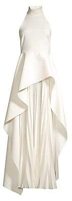 SOLACE London Women's Lavina High-Low Overlay Accordion Pleated Maxi Dress