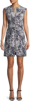 Diane von Furstenberg Printed Zip-Front Short-Sleeve Sheath Dress