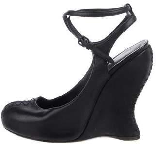 Bottega Veneta Leather Round-Toe Wedges