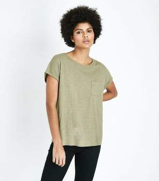 New Look Olive Green Organic Cotton Pocket Front T-Shirt