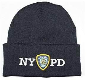 Factory NYC NYPD Winter Hat Police Badge New York Police Department & White