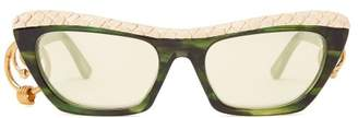 Acne Studios Dielle Temple Hoop Sunglasses - Womens - Yellow Multi