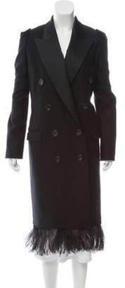 No.21 No. 21 Wool Peak-Lapel Double-Breasted Ostrich Feather Accented Long-Coat