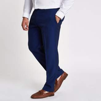 River Island Mens Big and Tall blue slim fit suit trousers