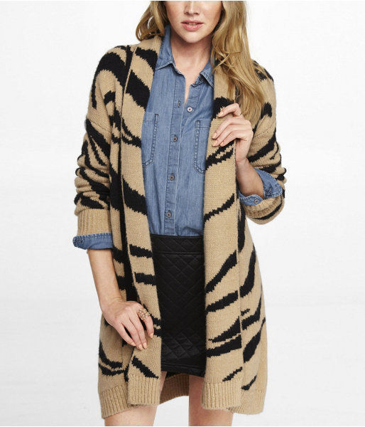 Express Tiger Stripe Wool Blend Sweater Coat