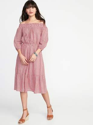 Old Navy Waist-Defined Off-the-Shoulder Midi for Women