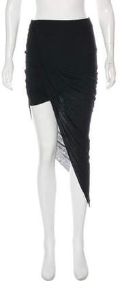 Helmut Lang Midi Asymmetrical Jersey Skirt