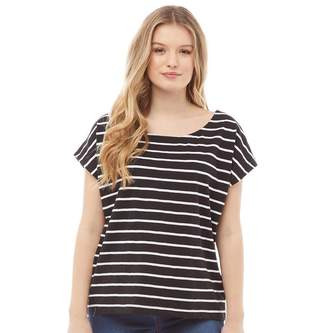 Board Angels Womens Yarn Dyed Striped Jersey Top Black/White
