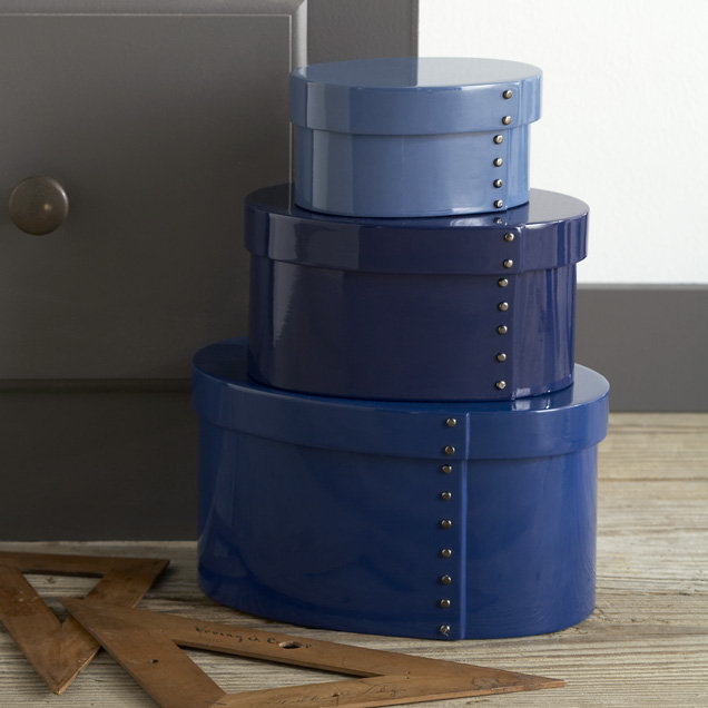 Studded Lacquer Boxes, Tonal Blue