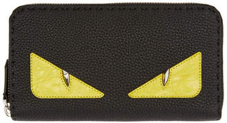 Fendi Black Croc Bag Bugs Zip Wallet