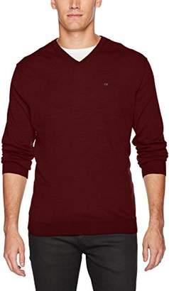 Calvin Klein Men's Merino Birdseye Windowpane V-Neck Sweater