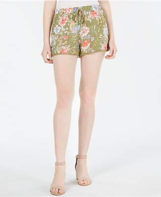BeBop Juniors' Floral-Print Pom Pom Shorts