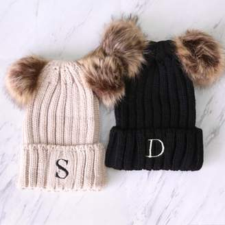 MonogramOnline Embroidered Initial Knitted Double Pom-Pom Hat For Adult/Child