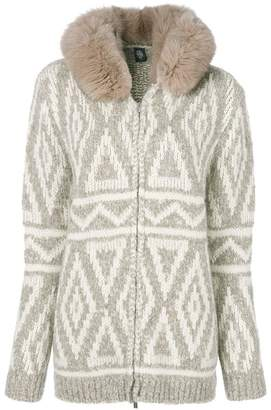 Eleventy fox fur hooded textured cardigan