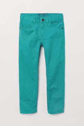 H&M Regular Fit Twill Pants - Turquoise