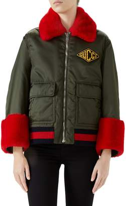 Gucci Faux Fur Trim Nylon Flight Jacket