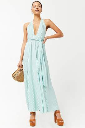 Forever 21 Striped Plunging Maxi Dress