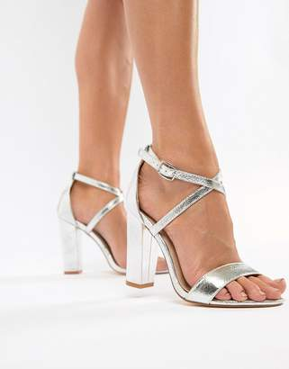 Glamorous Metallic Cross Strap Block Heel Sandals in Silver