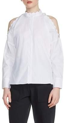 Maje Cold Shoulder Cotton Blouse