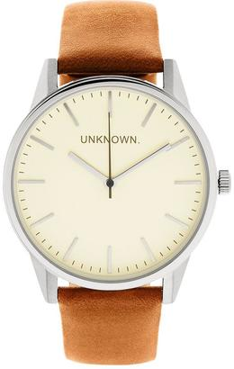 UNKNOWN The Classic Leather Watch- Tan/Silver
