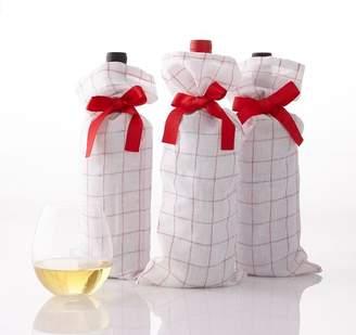 Windowpane Linen Wine Bags, Set of 3