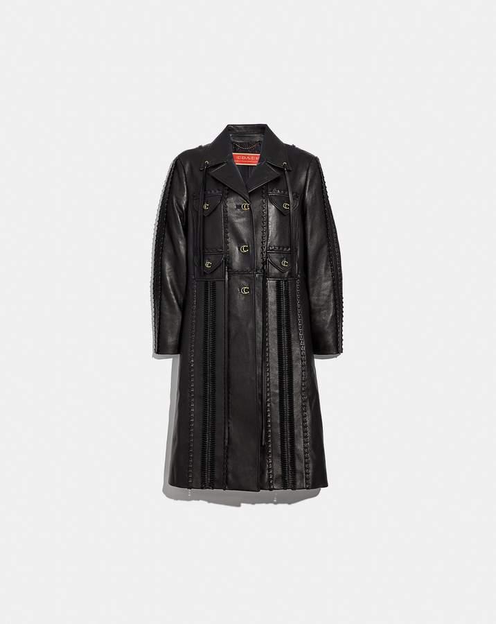 Embellished Leather Coat