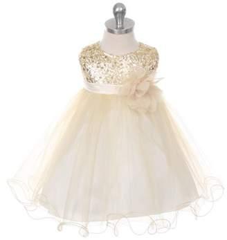 Kids Dream Grace- Baby Sequined Mesh Dress Gold