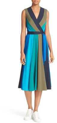 Women's Diane Von Furstenberg Penelope Colorblock Wrap Fit & Flare Dress $468 thestylecure.com