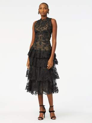 Oscar de la Renta Floral-Embroidered Tulle Tiered Cocktail Dress