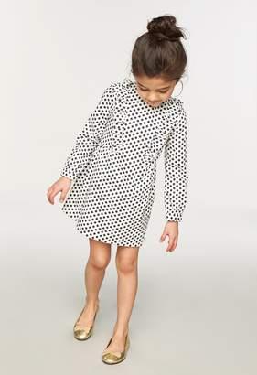 Milly Minis MillyMilly Dots Print Poplin Ruffle Sleeve Dress