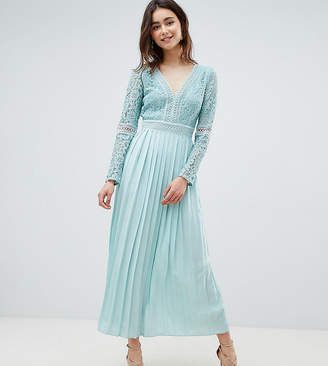 Little Mistress Tall Lace Top Midi Skater Dress With Pleated Skirt In Spearmint
