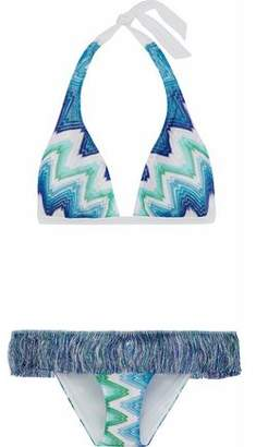 Missoni Fringed Crochet-Knit Triangle Bikini