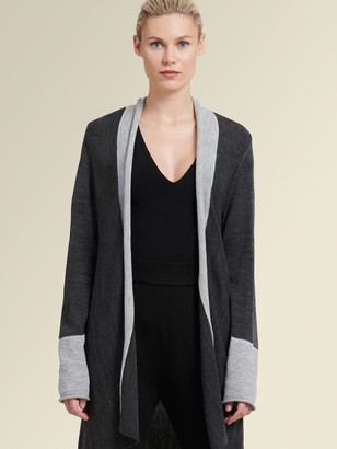 DKNY Colorblocked Open-front Cardigan