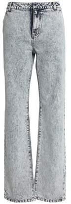 Tibi Bleached High-Rise Straight-Leg Jeans