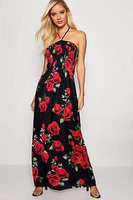 boohoo NEW Womens Rose Shirred Bandeau Maxi Dress in Polyester