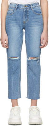 Sjyp Blue Distressed Jeans