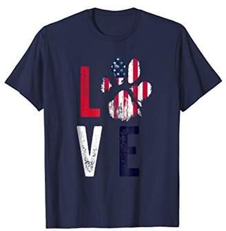 American Flag USA Love Dog Paw Tshirt Patriotic 4th of July