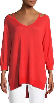 Joan Vass Open V-Neck Easy Sweater Tunic, Petite