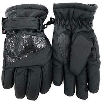 accsa Winter Kids Girl Warm Cute Glitter Ski Glove Free Size (