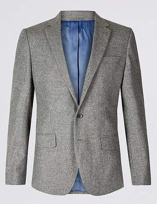 Marks and Spencer Pure Lambswool Textured Regular Fit Jacket