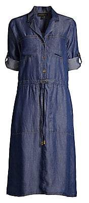 Donna Karan Women's Roll-Tab Sleeve Button-Front Dress