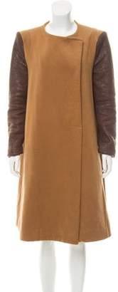 BCBGMAXAZRIA Vegan Leather-Accented Long Coat