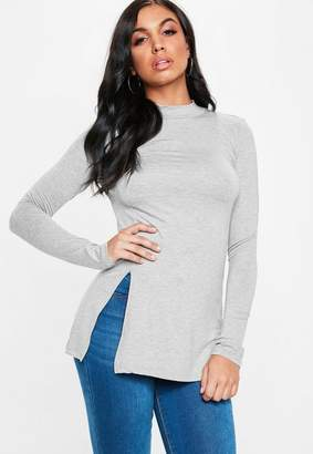 Missguided Gray High Neck Side Split Long Sleeve Tunic Top